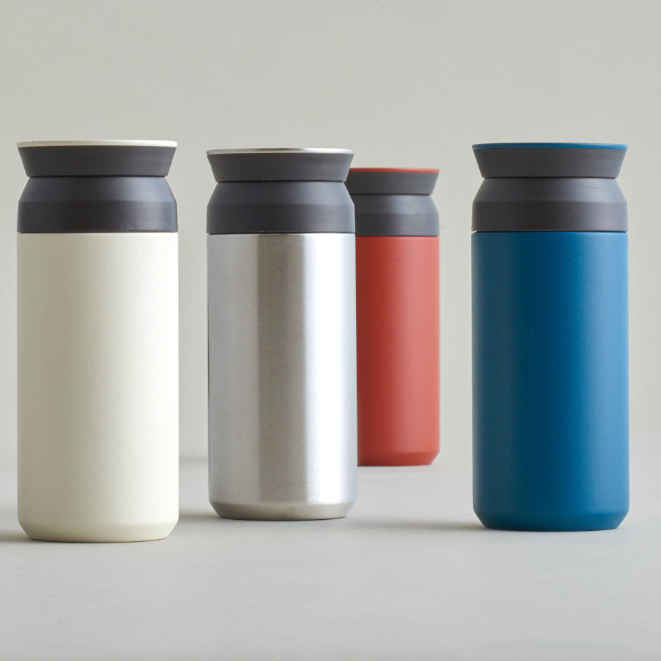 Travel tumbler, 350 ml, l-r: white (stainless steel, to order), red, and blue.