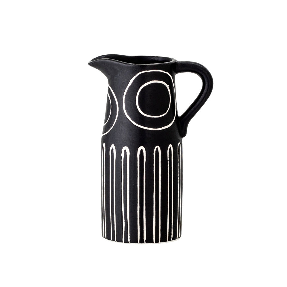 Troy vase, black terracotta jug shape, with white circle and narrow arch pattern.