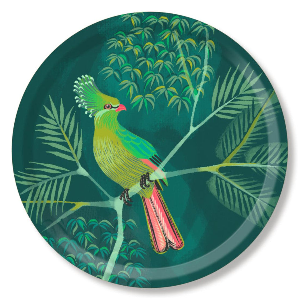 Turaco by Asta Barrington, turaco on tropical tree branch on green background, 39cm round tray.