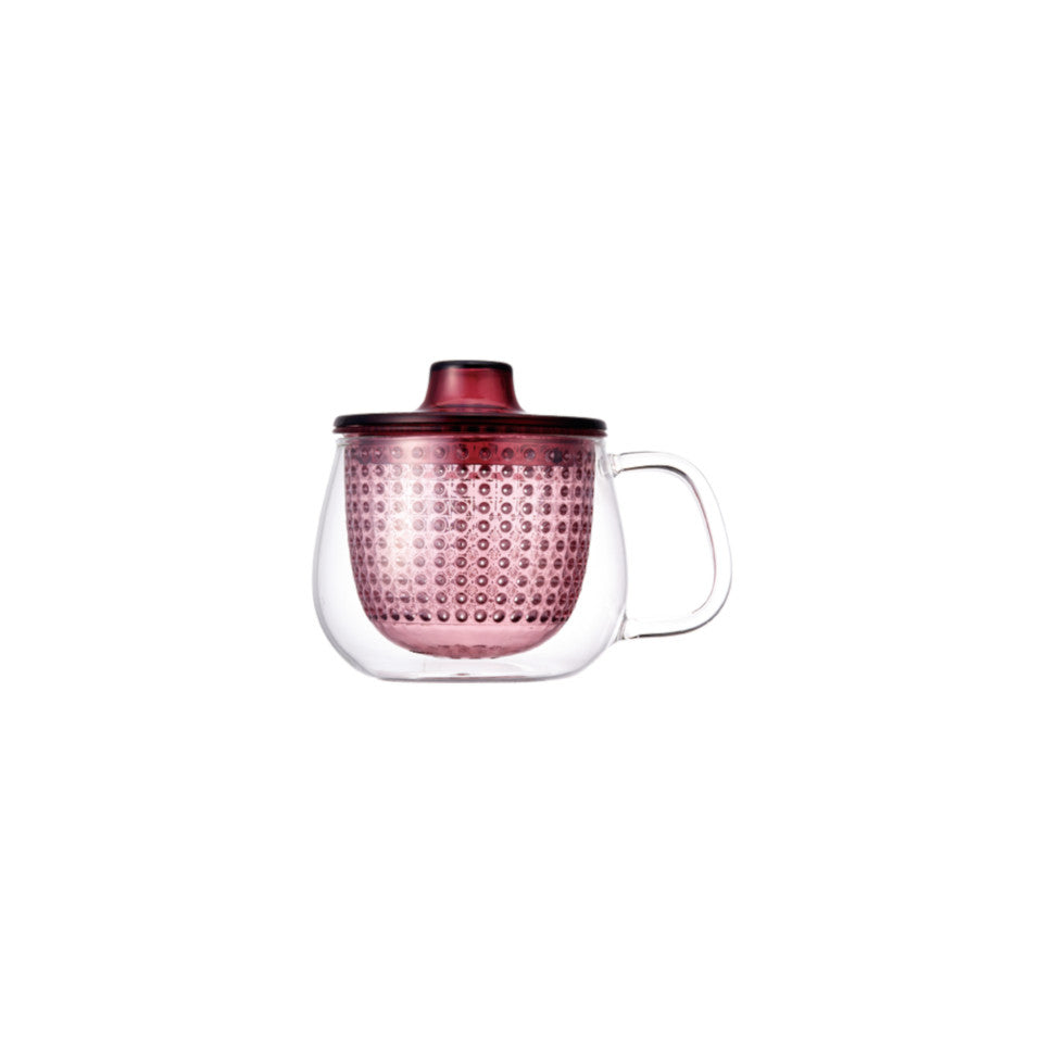 Unimug glass mug with red strainer and lid, for tea for one.