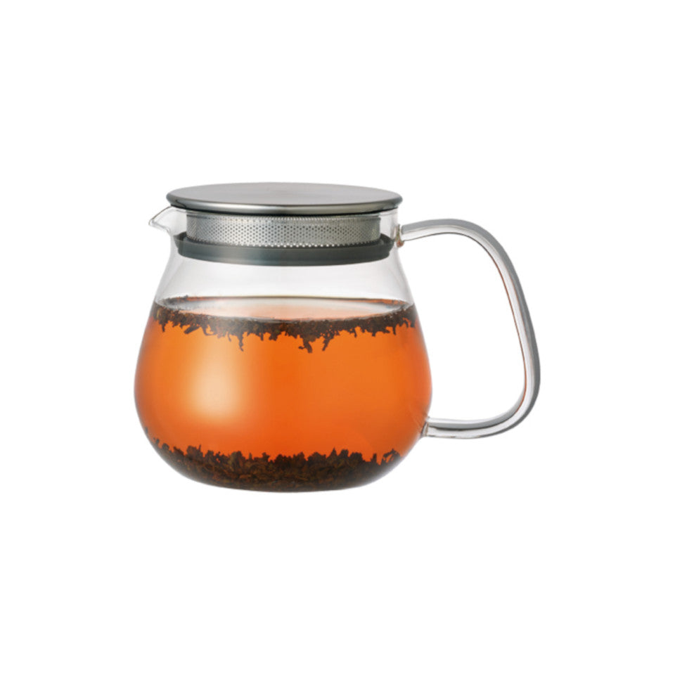 Unitea glass 460 ml teapot with stainless steel strainer lid, with tea.