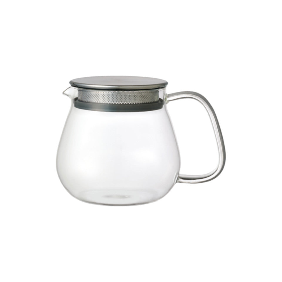 Unitea glass 460 ml teapot with stainless steel strainer lid.