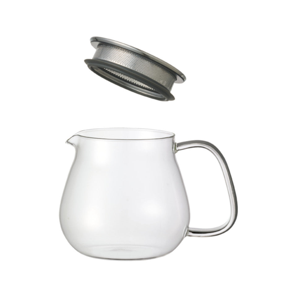 Unitea glass 460 ml teapot with stainless steel strainer lid, separated.