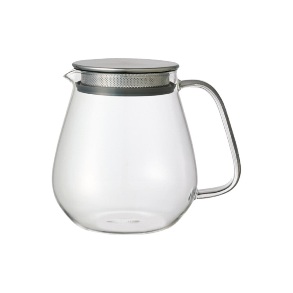 Unitea glass 720 ml teapot with stainless steel strainer lid.