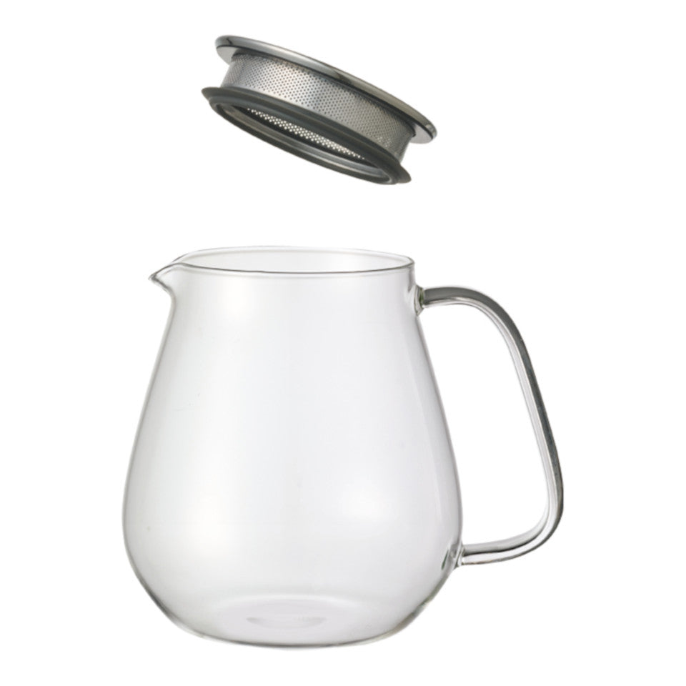 Unitea glass 720 ml teapot with stainless steel strainer lid, separated.