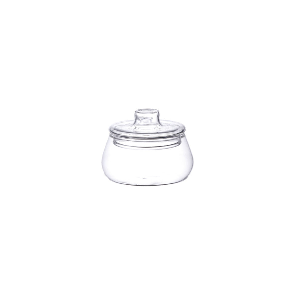 Unitea glass lidded sugar pot.