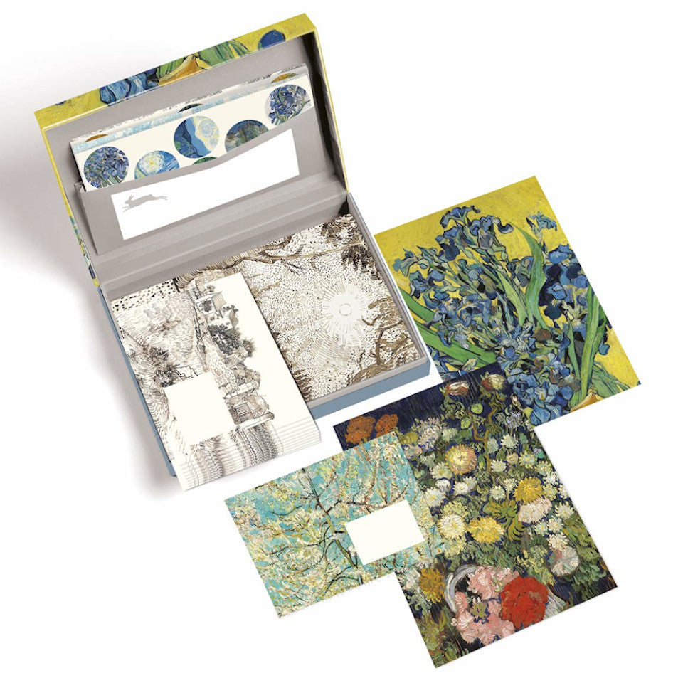 Vincent Van Gogh letter writing set open with envelopes, paper and sticker sheets on display.