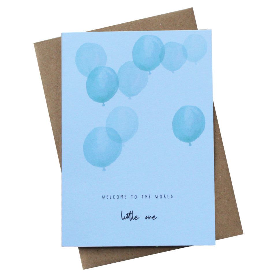 Welcome To The World Little One new baby card, mint balloons with black text, with brown kraft envelope.