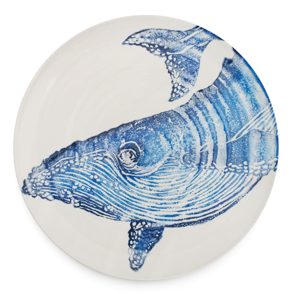 Sea Creatures earthenware Whale platter, 36.5 cm.