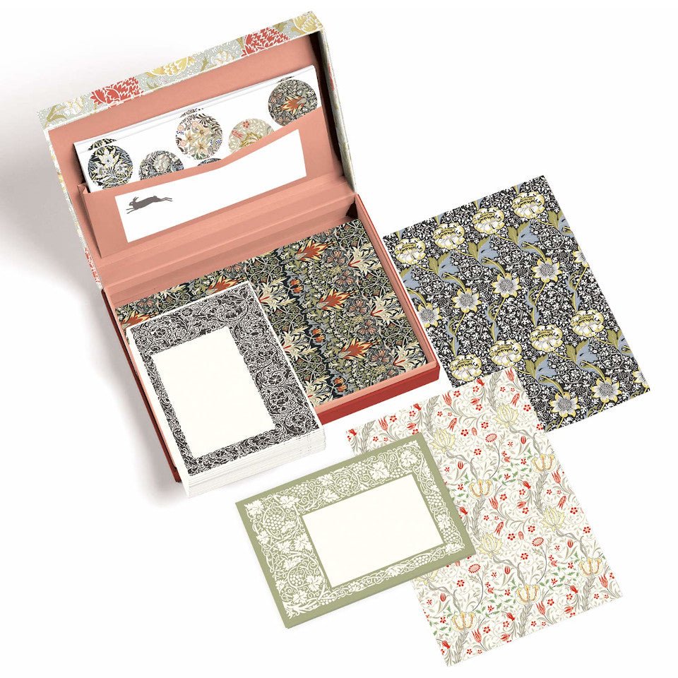 William Morris letter writing set open with envelopes, paper and sticker sheets on display.