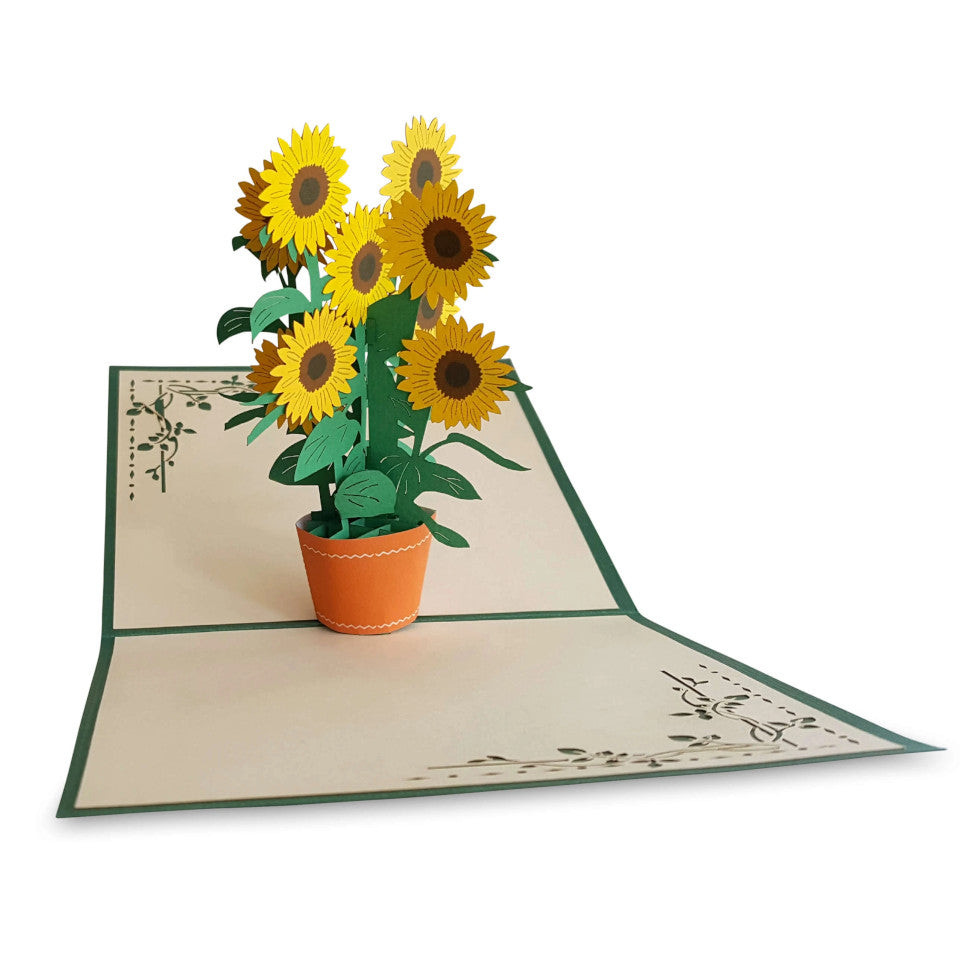 To A Wonderful Mum pop-up sunflower blank dark green Mother's Day card with cream envelope.