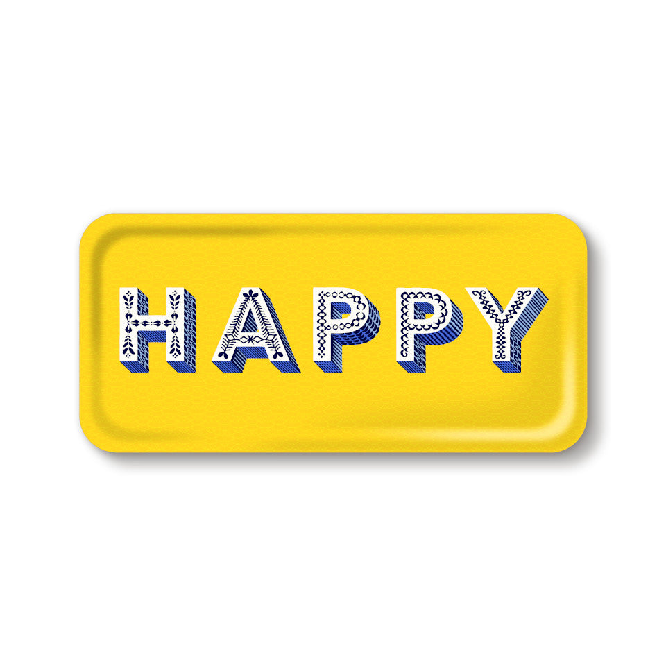 HAPPY by Asta Barrington, word 'happy' in white letters, on yellow background oblong tray, 32 cm x 15 cm.