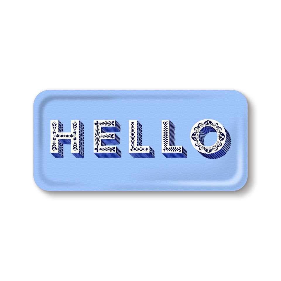 HELLO by Asta Barrington, word 'hello' in white letters, on light blue background oblong tray, 32 cm x 15 cm.