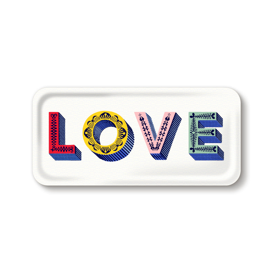 LOVE by Asta Barrington, word 'love' in coloured letters, on white background oblong tray, 32 cm x 15 cm.
