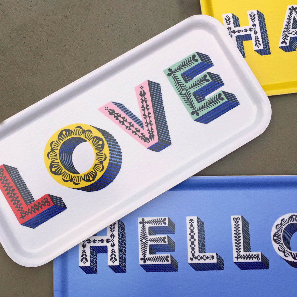LOVE by Asta Barrington, oblong tray 32 cm x 15 cm, styled with HAPPY amd HELLO oblong trays.