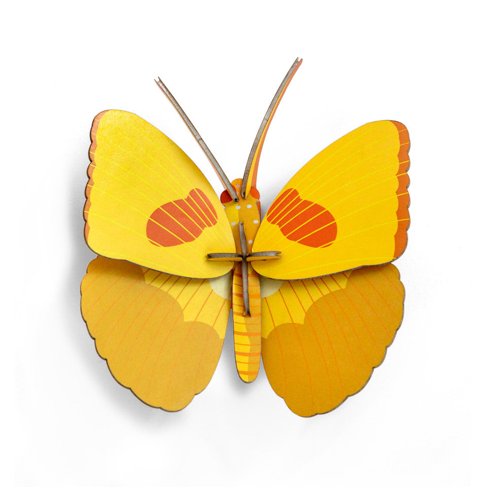 Yellow butterfly 3D decorative wall object.