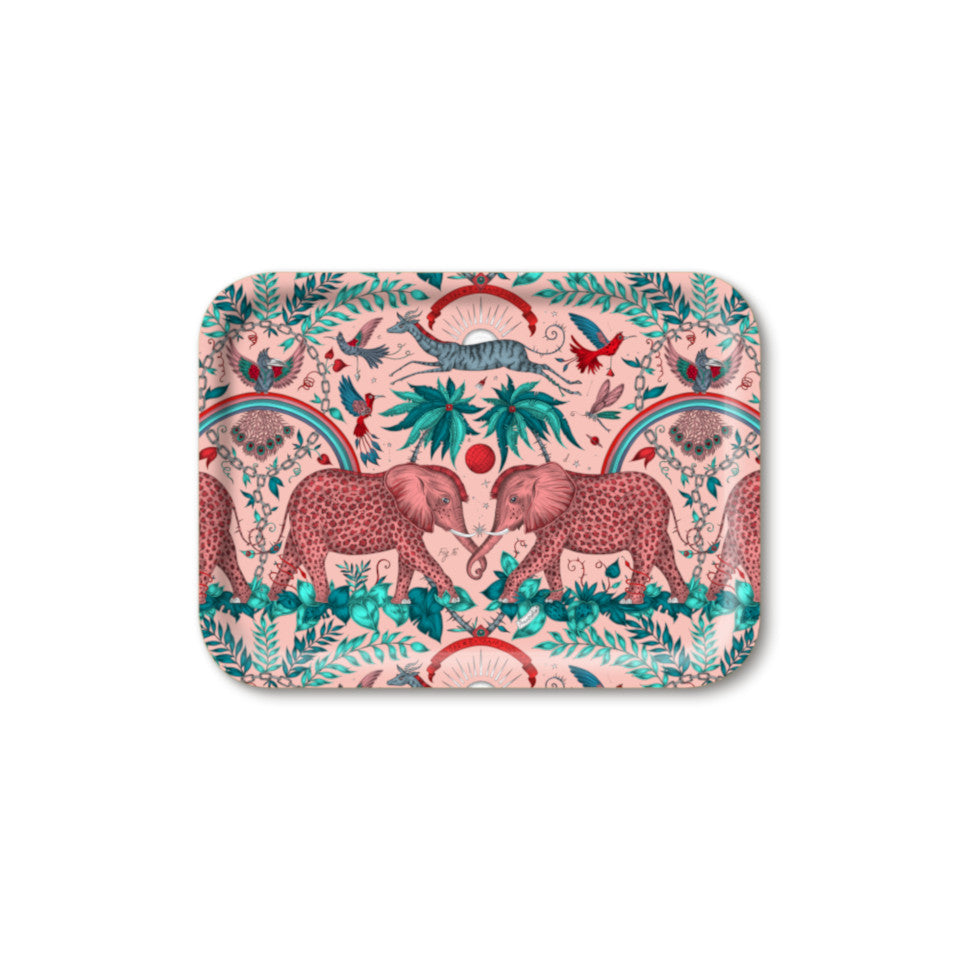Zambezi by Emma J. Shipley pink small rectangular tray, 23 x 20 cm.