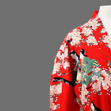 Load image into Gallery viewer, Red Summer flower Kimono in sateen
