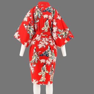 Red Summer flower Kimono in sateen