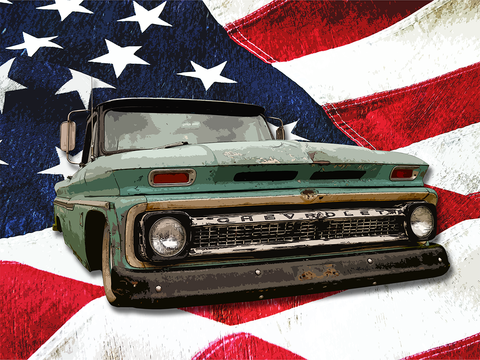 The American - Canvas - Texas Media Foundry Truck Poster Canvas