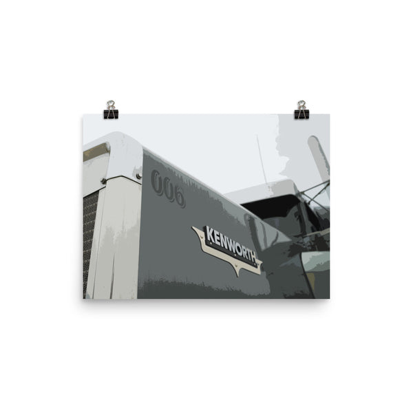 18 Wheeler Picture - Kenworth Hood | Ideal gift for Truckers or 18 Wheeler Fans! Poster Print