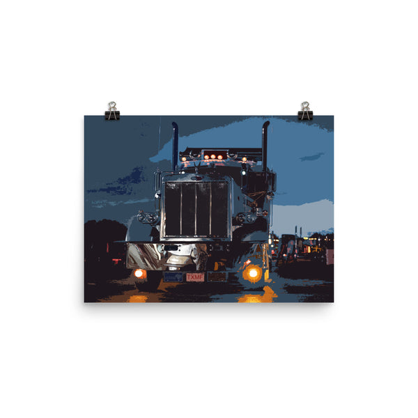Mancave Decor - Big Rig Driving at Night | Ideal gift for Truckers or 18 Wheeler Fans! Poster