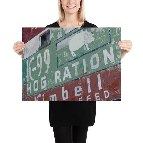 Hog Ration - Poster - Texas Media Foundry Truck Poster Canvas