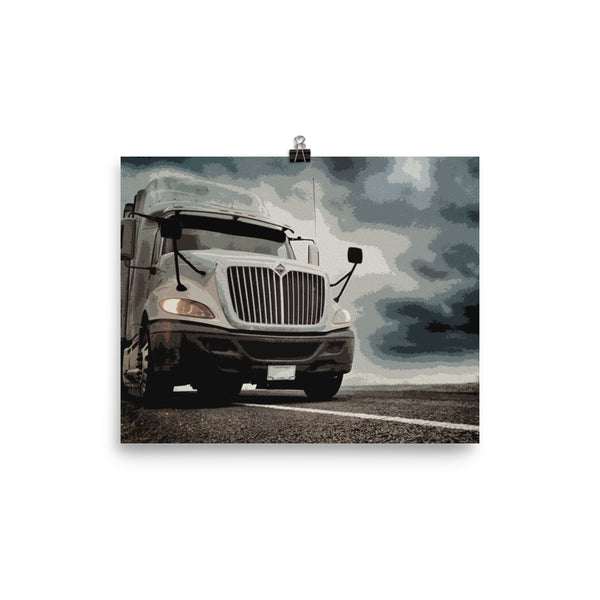 Mancave Decor - Big Rig under Dark Skies. Ideal gift for Truckers or 18 Wheeler Fans! Poster Print