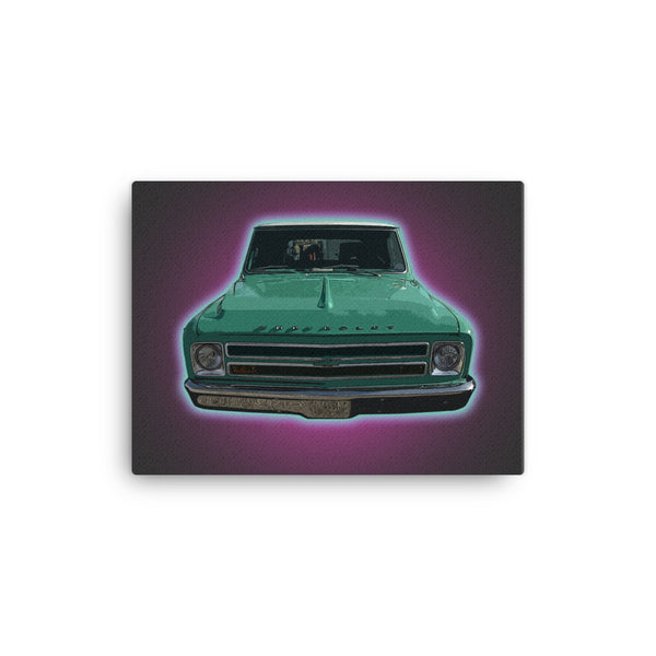Mancave Decor | Old Truck Poster | '66 Chevy - Ideal gift for Dad or Pickup Truck Fans! Canvas