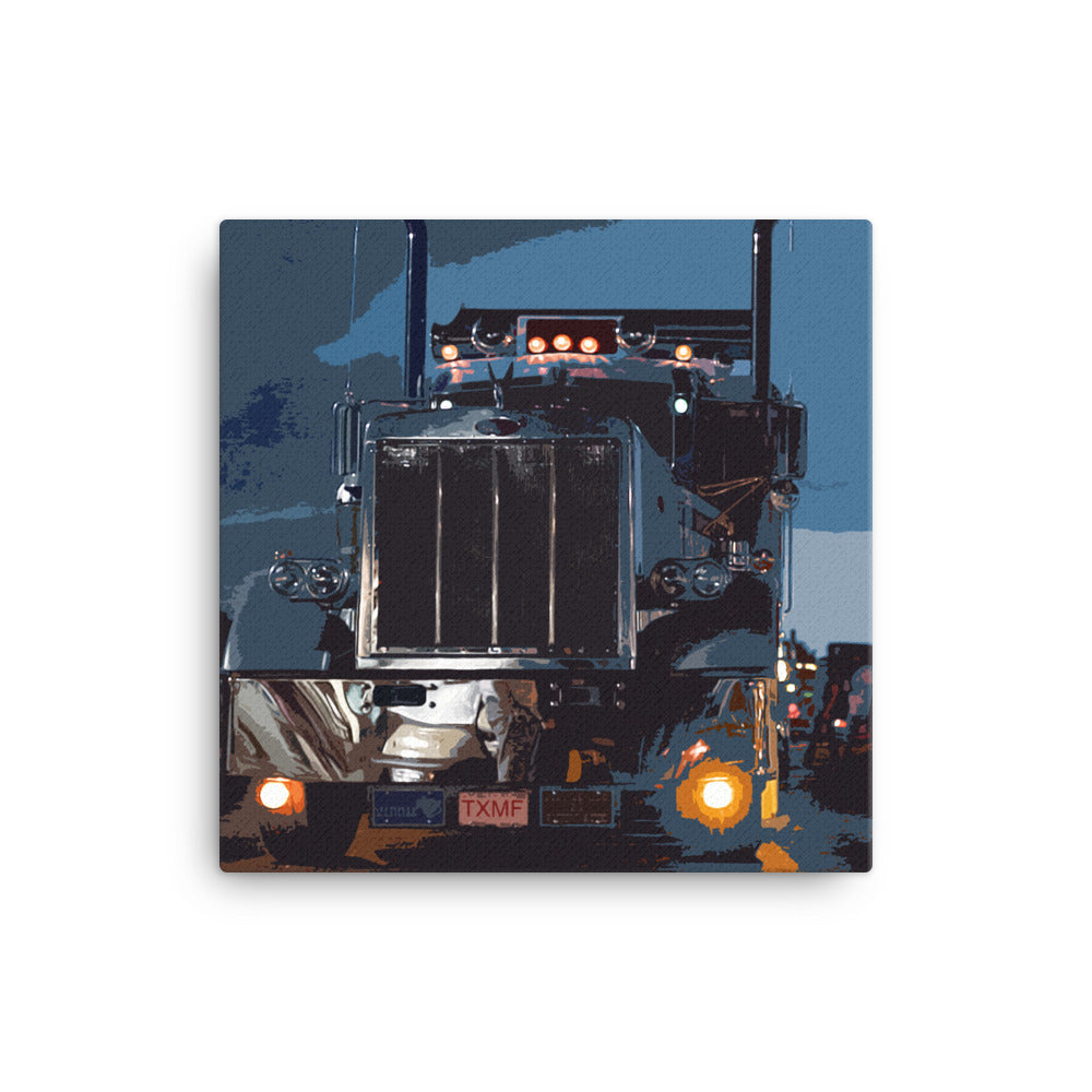 18 Wheeler Picture - Big Rig at Night. Ideal gift for Truckers or 18 Wheeler Fans! Canvas Print