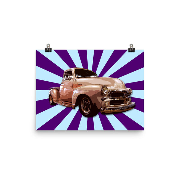 Mancave Decor | Old Truck Poster | '54 Chevy - Ideal gift for Dad or Pickup Truck Fans! Poster