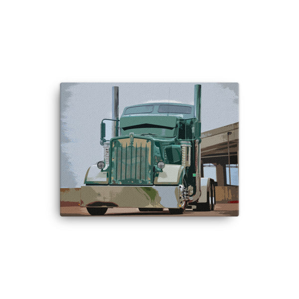 18 Wheeler Picture - Kenworth W900 | Ideal gift for Truckers or 18 Wheeler Fans! Canvas Print