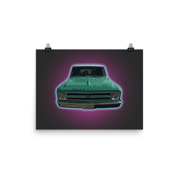 Mancave Decor | Old Truck Poster | '67 Chevy - Ideal gift for Dad or Pickup Truck Fans! Poster