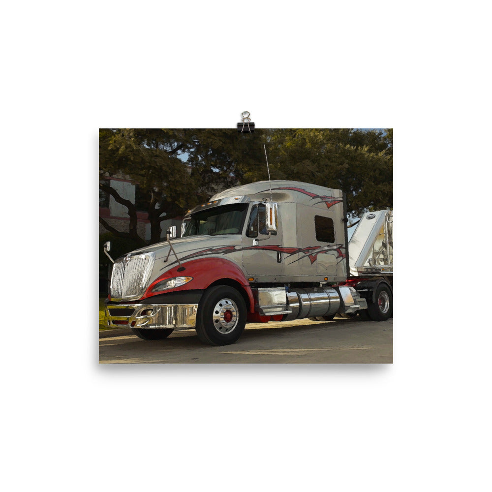 Mancave Decor - The Chrome Big Rig | Ideal gift for Truckers or 18 Wheeler Fans! Poster Print
