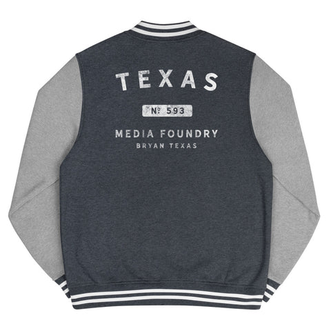 Texas Media Foundry - Men's Letterman Jacket - Texas Media Foundry Truck Poster Canvas