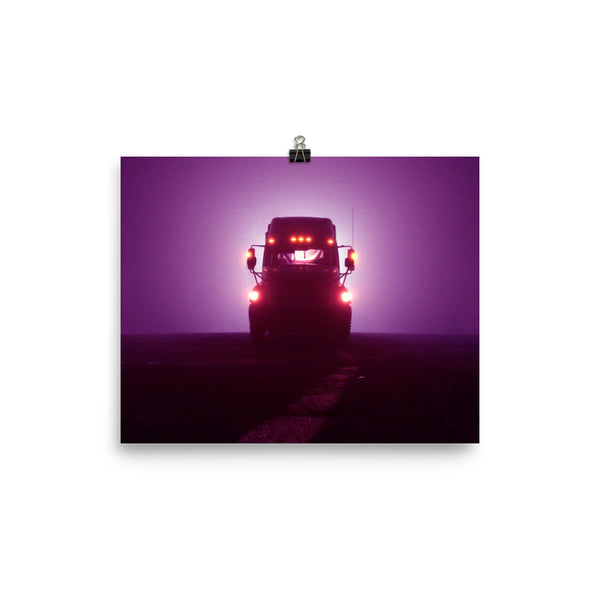 Mancave Decor - Big Rig at Night. Ideal gift for Truckers or 18 Wheeler Fans! Poster/Wall Art