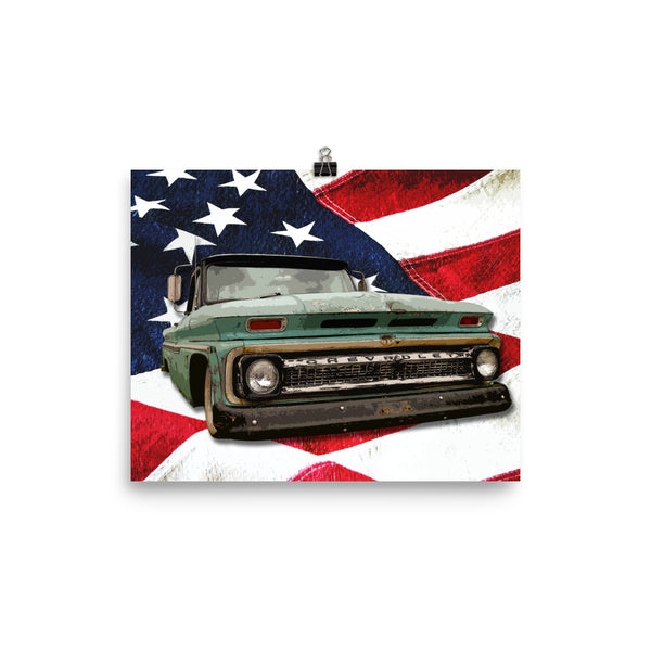 Mancave Decor | Old Truck Poster | '66 Chevy - Ideal gift for Dad or Pickup Truck Fans! Poster