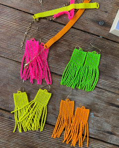 Beaded Fringe Earrings: Neon