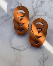 "Load image into Gallery viewer, Recycled Leather Earrings ""Woven"""