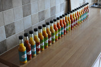 Some of the small batch range of Professor Pods Artisan Chilli Sauces
