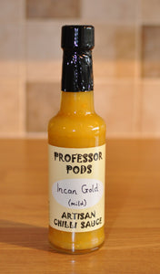 A bottle of Professor Pods Incan Gold Mild Artisan Chilli Sauce