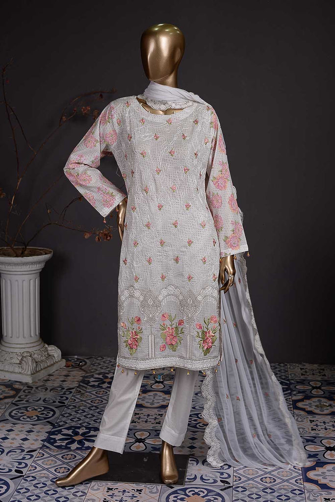 3D Print (SC-79A-White) Un-Stitched Embroidered Cambric Dress with Embroidered Chiffon Dupatta