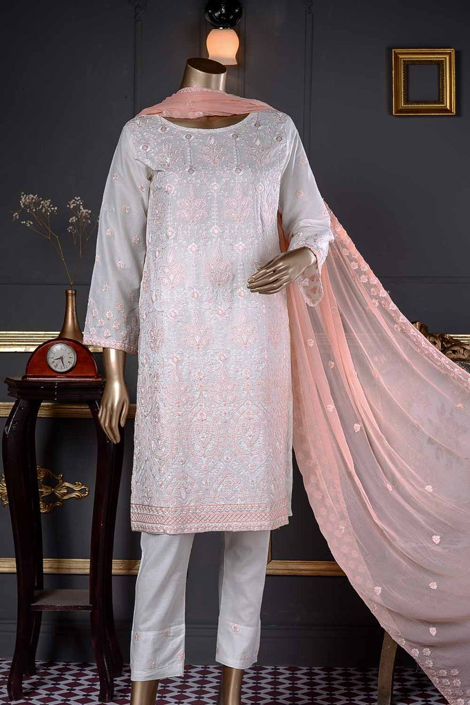 Grace (BZ-10B) | White 3 Pc Unstitched Embroidered Cambric Dress with Embroidered Chiffon Dupatta