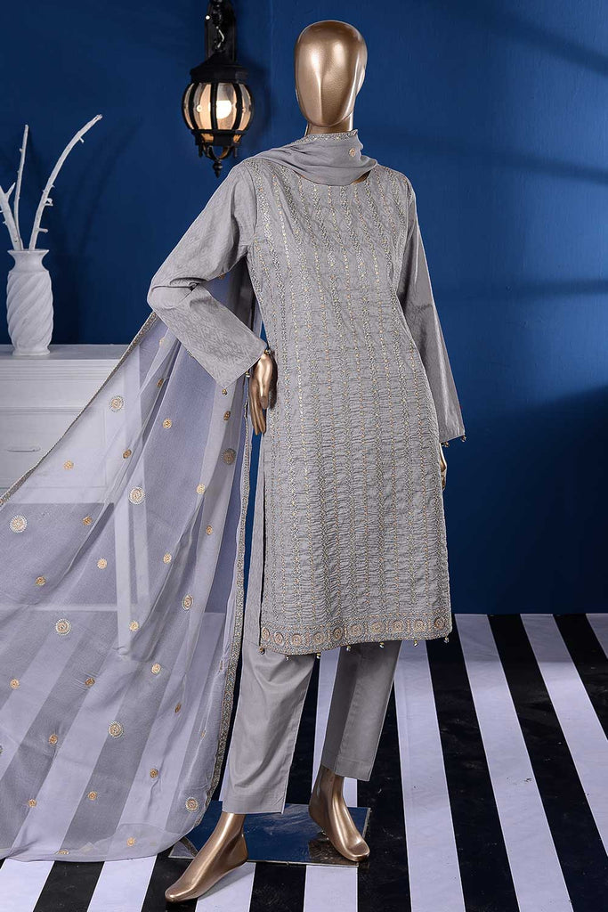 Stone Wash (SC-86A-Light Grey) Embroidered Un-Stitched Cambric Dress With Embroidered Chiffon Dupatta