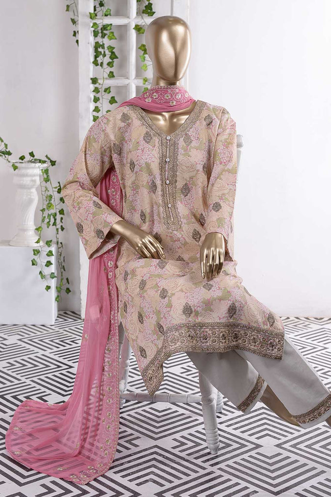 Jhumka Chandi (SC-54B-Pink) Embroidered Cambric Dress with Embroidered Chiffon Dupatta