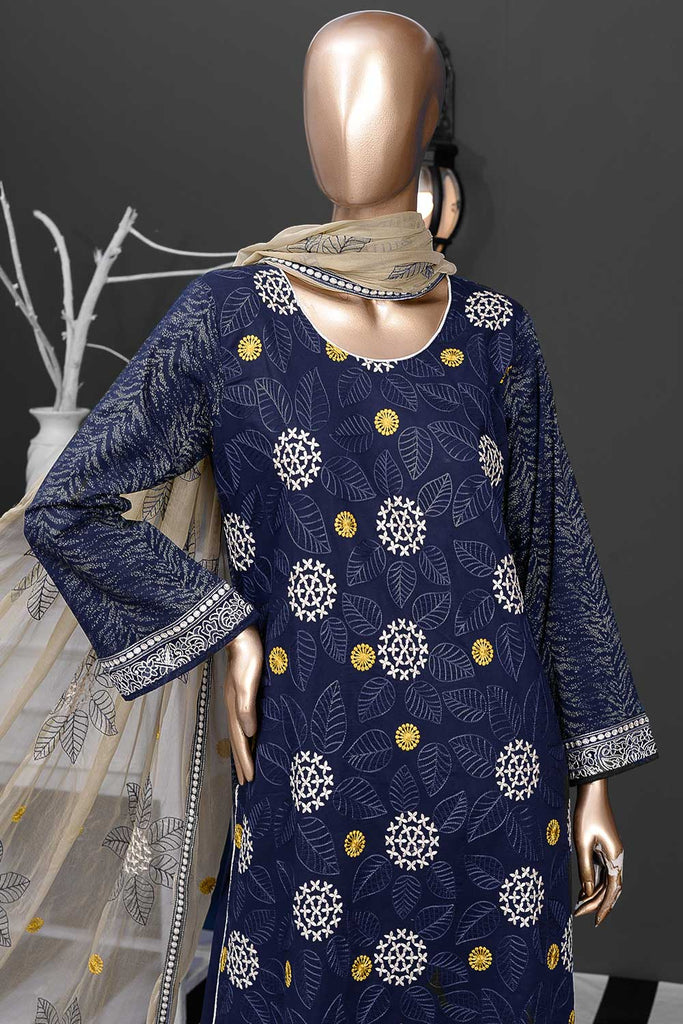 Snow Leaf (SC-16B-Blue) Embroidered Un-Stitched Cambric Dress With Chiffon Dupatta