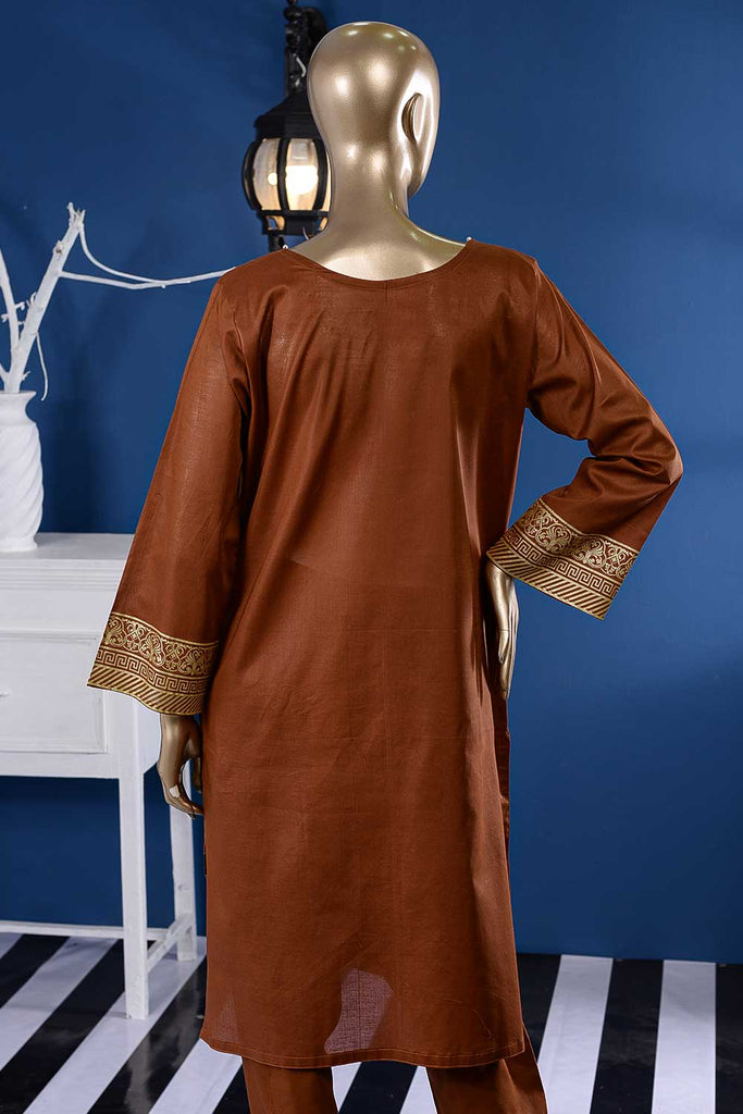 Pure Charisma (CC-1Q-C-Brown) 3 Pc Unstitched Printed Cambric Dress with Chiffon Dupatta
