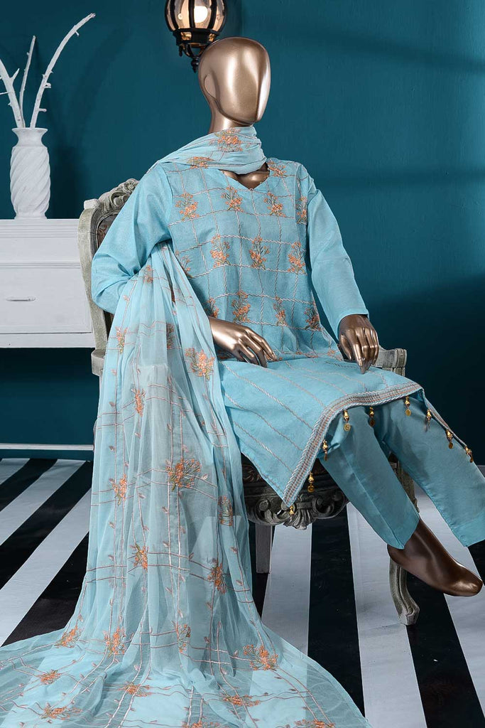 Metro (SC-84A-Light Blue) Embroidered Un-Stitched Cambric Dress With Embroidered Chiffon Dupatta