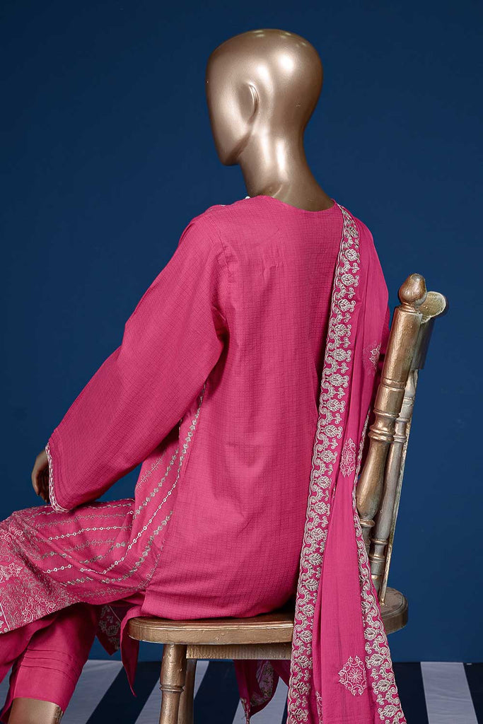Queen Dots (SC-97B-Pink) Embroidered Cambric Dress with Embroidered Chiffon Dupatta