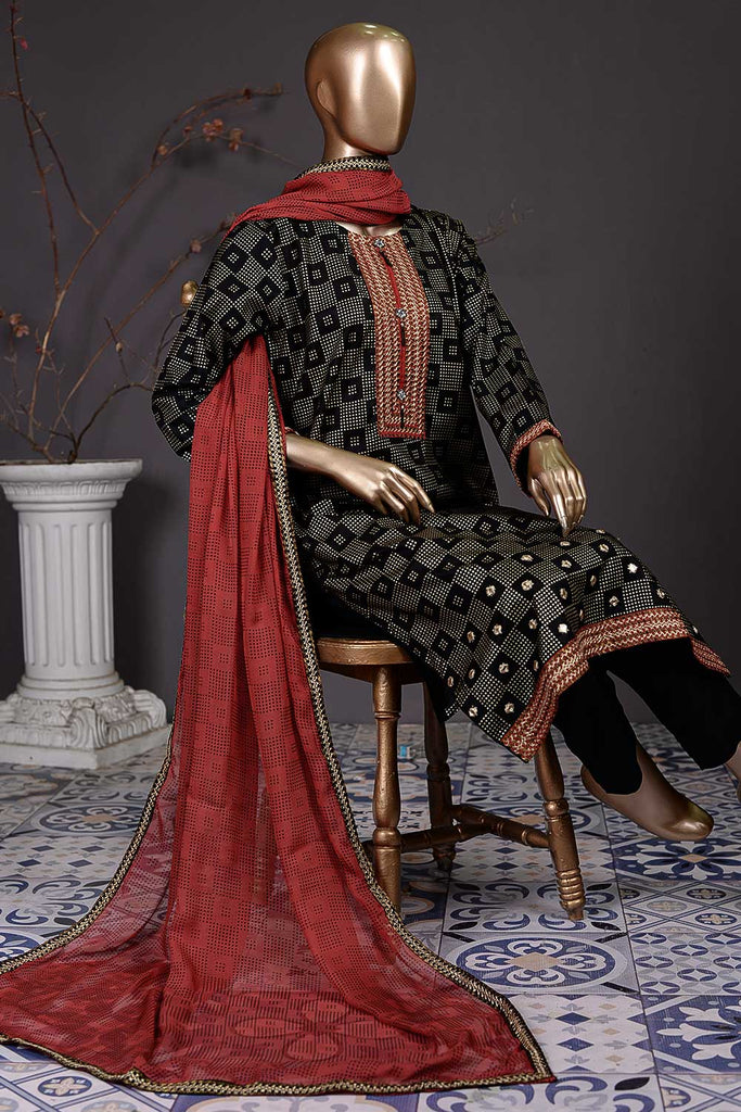 Golden Square (SC-81A-Black) Embroidered Un-Stitched Cambric Dress With Embroidered Chiffon Dupatta